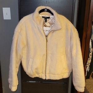 Baby pink faux fur coat